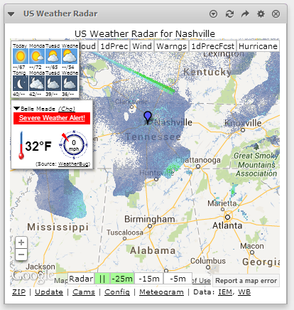 This Is How It Should Look In Netvibes You Might Want To Adjust The Height Of The Widget To 380px For The Default Height Of Us Weather Radar Of 350px